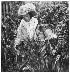 Vrouw met een vaas tulpen