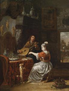 Interieur met musicerend koppel