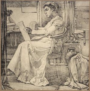 studie van jonge vrouw in interieur