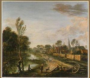 Landschap met rivier bij een dorp