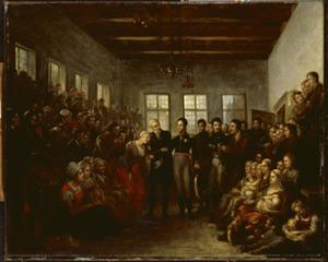 De Prins van Oranje bezoekt de slachtoffers van de watersnood in het Aalmoezeniersweeshuis in Amsterdam, op 14 februari 1825