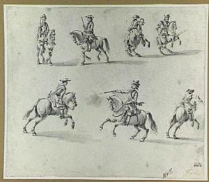 Studies van soldaten te paard