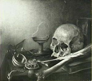 Vanitasstilleven met schedel, gebroken glas en horloge