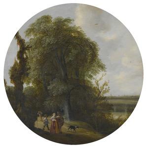 Landschap met een wandelend paar, in de verte de torens van Delft