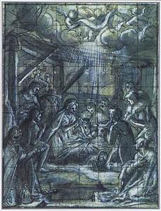De aanbidding der herders, met twee heiligen