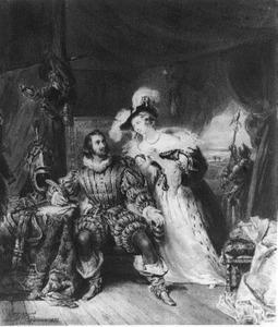 Don Francesco Valdez ontvangt in zijn tent een bezoek van Magdalena Moens, gedurende het beleg van Leiden