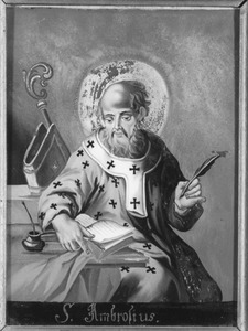 De H Ambrosius als kerkvader in zijn studeervertrek
