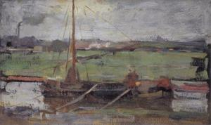 Polder with moored boat near Amsterdam I