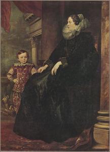 Portret van een onbekende Genuese vrouw met haar zoon