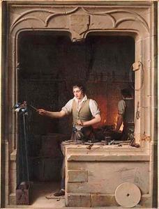 Een slotenmaker probeert een Vlaamse gaai in zijn vijl te laten bijten (La Fontaine , fabel uit het vijfde boek, 'De slang en de vijl')