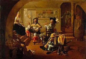 Twee rokende soldaten, een vrouw en een dienstmeid in een keuken