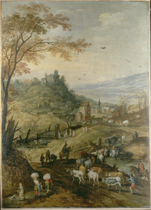 Bergachtig landschap met gezicht op een dorp en vee