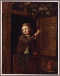 Jongen in een deuropening met een vink aan een touwtje