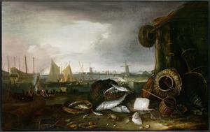 De Grashaven in Hoorn, met stilleven van vissen op de kade