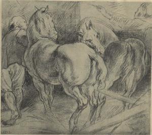 Studie van paarden en stalknechten