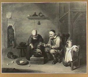 Interieur met echtpaar aan de maaltijd