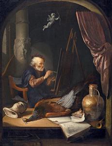 Een oude schilder in zijn atelier