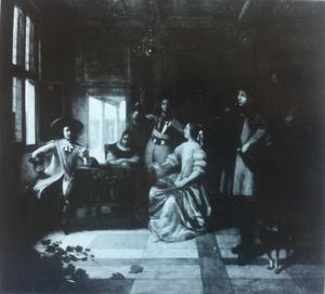 Rokend en drinkend gezelschap met een trompetter in een interieur