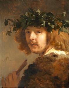 Herder met krans op het hoofd en een fluit in de hand