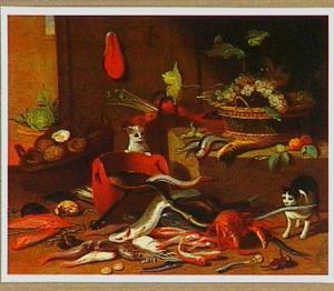 Katten bij een stilleven met zeedieren, fruit en groente