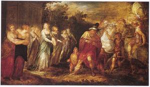 Jefta door zijn dochter begroet; hij scheurt zich in wanhoop de klederen  (Richteren 11:34-35)