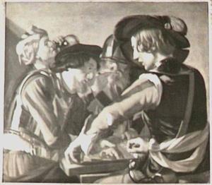 Trictrac spelende soldaten