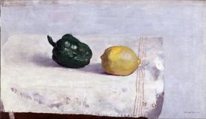 Stilleven met paprika en citroen