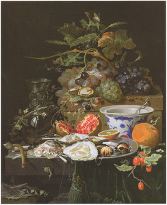 Stilleven met vruchten, oesters en een porseleinen kom
