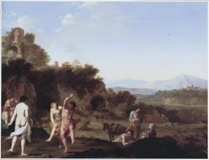 Arcadisch landschap met dansende herders