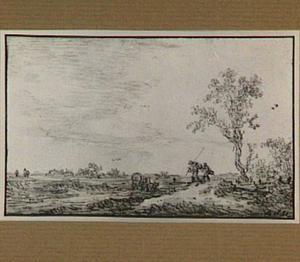 Landschap met huifkar en figuren