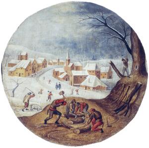 Winterlandschap met houthakkers