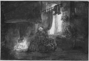 Maria met kind en Jozef als timmerman in een interieur