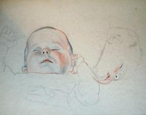 Studieblad van twee slapende baby's
