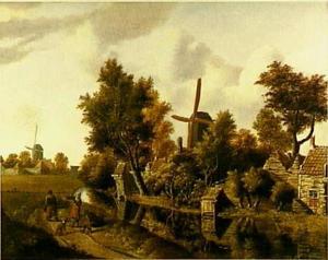 Landschap met huisjes en molens aan een boerensloot