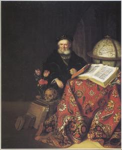 Portret van een geleerde in een studeervertrek