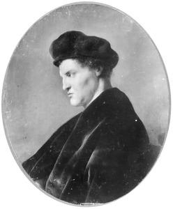 Jonge man en profil met een baret
