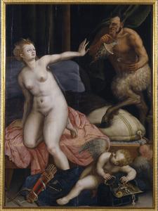 Venus in haar slaapvertrek belaagd door een opdringerige sater