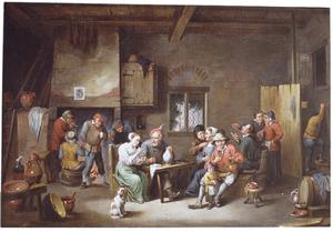 Rokend en drinkend boerengezelschap in een herberg