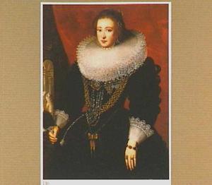 Staatsieportet van een vrouw met grote kanten kraag en waaier, mogelijk Elisabeth koningin van Bohemen
