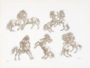 Studieblad met vechtende centauren