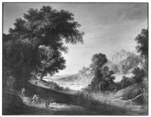 Landschap met boeren op een landweg