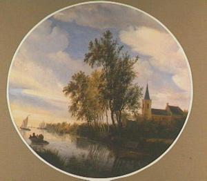 Rivierlandschap met kerkgebouw en overtoom in de verte