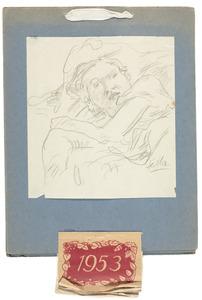 Amrey (Annemarie Balsiger) liggend op een divan (kalender januari-maart 1953)