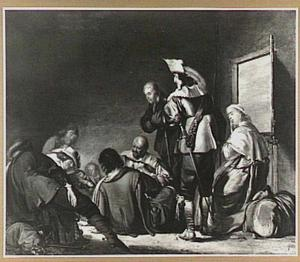 Wachtlokaal met kaartende soldaten