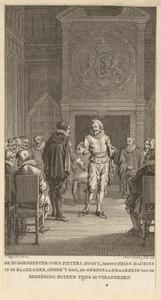 Prins Maurits en burgemeester Cornelis Pietersz. Hooft in de raadkamer van het stadhuis te Amsterdam in 1618