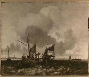 Schepen op de Zuiderzee op de rede van Naarden