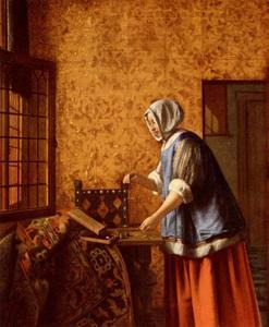 Een vrouw met weegschaal