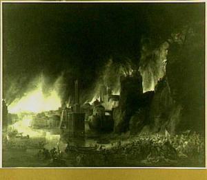 Aeneas vlucht met zijn familie uit het brandende Troje