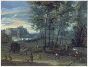 Parklandschap met elegante figuren; op de achtergrond het Coudenberg-paleis te Brussel