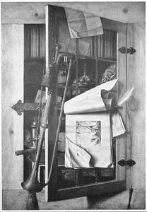 Trompe l'oeil van een kast met boeken en pronkvaatwerk, met een trompet en tekeningen